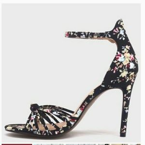 Floral Knotted Ankle Strap Snap Closure Heels